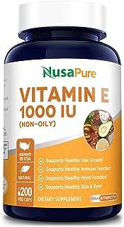 Vitamin E 1000 IU 200 Vegetarian Capsules (Non-Oily, Non-GMO & Gluten Free) - Mixed D-Alpha Tocopherol - Antioxidant Suppo...