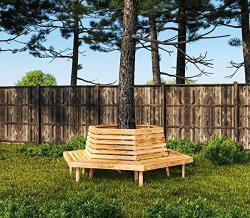 8.8.3238: produziert in Deutschland - grosse Baumbank sechseckig aus Lärchenholz vollmassiv - Baumbank mit Innendurchmesser 119cm