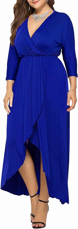 Womens Casual Plus Size 3/4 Long Sleeve Maxi Dress Elastic Empire Waist Split Party Dresses