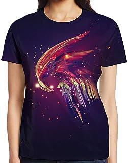 3D プリント レディース 半袖 Tシャツ 抽象的カラフル羽 クルー ネック おしゃれ シャツ トップス