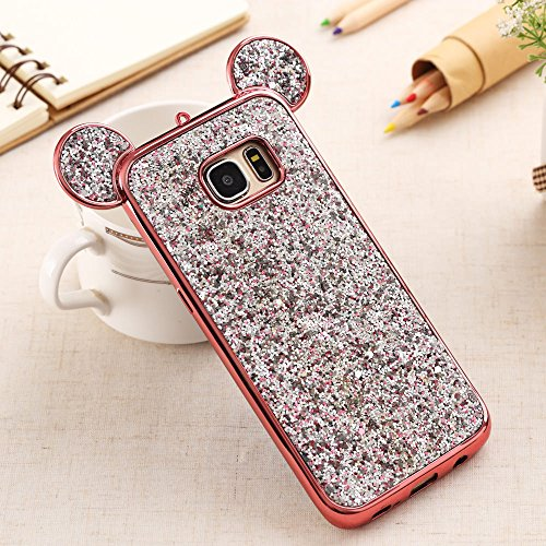 Bling Galaxy S7 Edge Case, S7 Edge Silicone Cover Back Case, Sparkle Glitter Diamond Soft TPU Case Shiny Pattern 3D Cute Ear Design Gems Rubber Protective Bumper Shell-Rose Gold