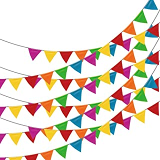 Adorox 100 Foot Multicolor Plastic Pennant Banner Birthday Party Decorations Weather Resistant Grand Opening Banner (Multi-Colored (1 Banner))
