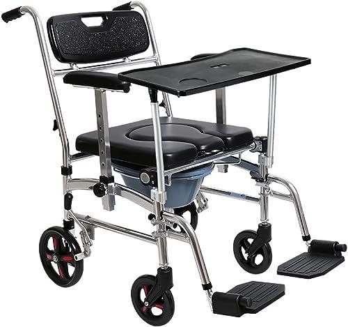 T chen ZZZ- Alten Mann Toilette Schwangere Frau Kommode Stuhl Hemiplegische Rehabilitation Rollstuhl Aluminiumlegierung Faltbare Riemenscheibe Mit Pedal Mobilen Rollstuhl