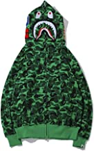 yur67 Mens Camouflage Bape Shark Mouth Casual Hoodie