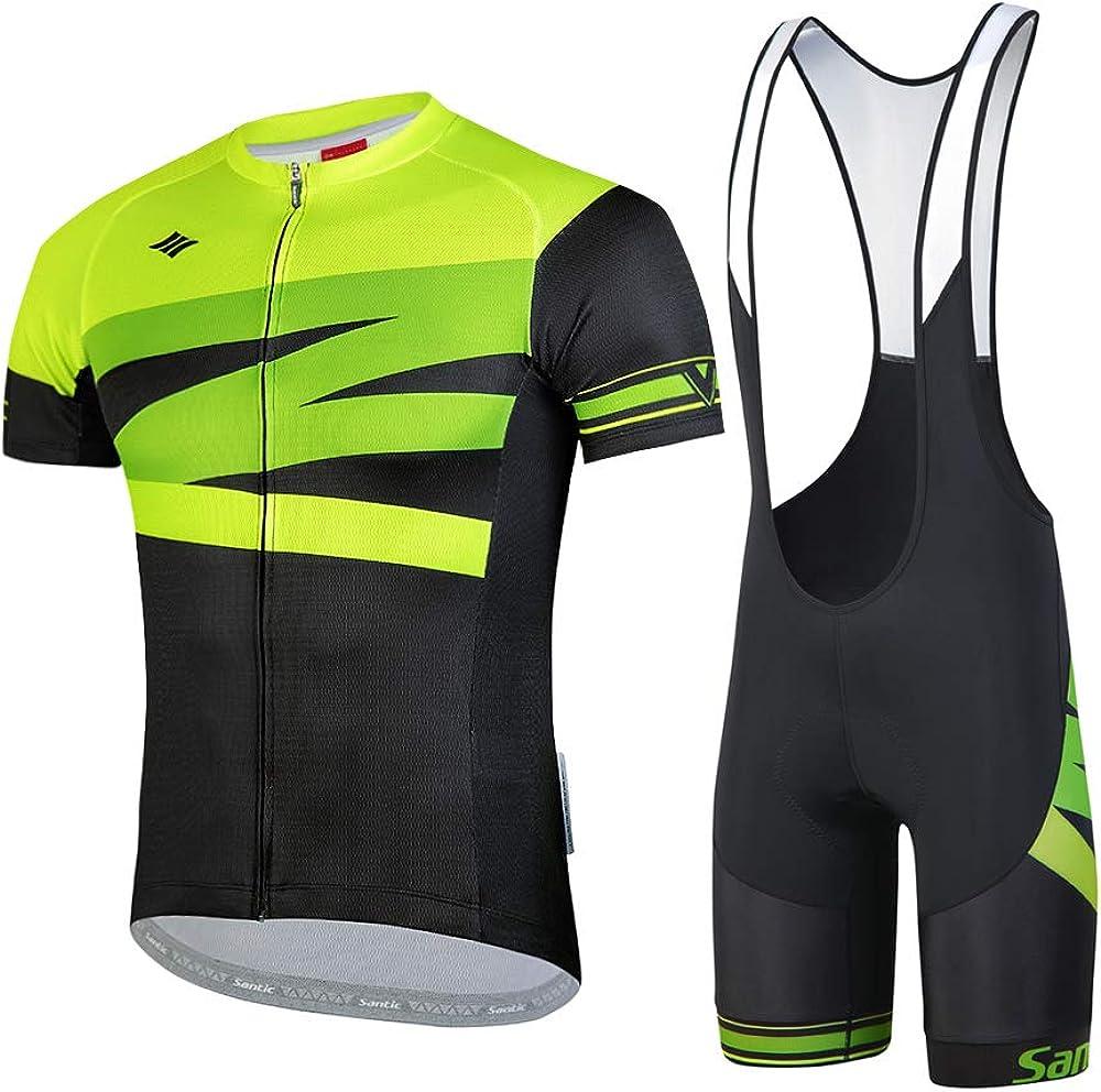 Santic Men's Cycling Jersey Set Bib Shorts 4D Padded Short Sleeve Outfits Set Quick-Dry