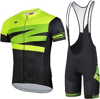 Santic Traje Ciclismo Ropa Hombre Set Ciclismo Maillot y Culotte Pad Verano Bicicleta MTB Carretera Transpirable
