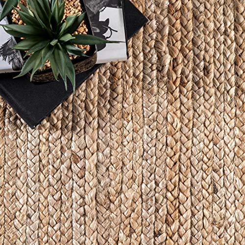 nuLOOM Natural Hand Woven Rigo Jute rug Round, 4'