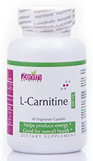 Zenith Nutritions L-Carnitine 500Mg for Produce Energy, Good Health   Vegetarian Dietary Supplement, 60 Capsules