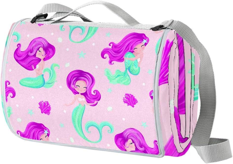 XJJUSC Cute Little Mermaid Selling rankings Waterproof Lar Picnic Extra Genuine Free Shipping Blanket