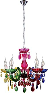 mirrea Mini Modern Gypsy Chandelier, 5 Lights, Crystal-Like Acrylic Multicolor