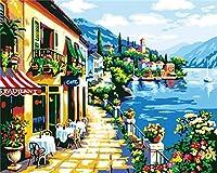 デジタルキャンバスアートキャンバスDIY油絵親子関係を強化する40x50cm(フレームレス)海辺のレストラン cod.183