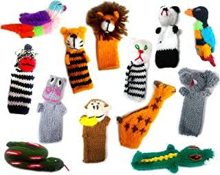 Handmade Knit Finger Puppet 12 Piece Set Children Kids Toddler School Educational Story Telling Play Time Theme Show Toy - 1 Dozen Assorted Jungle Zoo Animals Wildlife