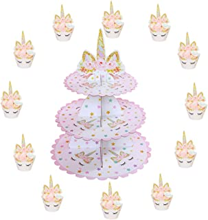 3 Tier Unicorn Cake Stand | Unicorn Cupcake Toppers and Wrappers of 12 Set - Unicorn Party Cake Decorations - Unicorn Theme Party Supplies