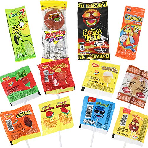 Mexican Candy Lollipops Bag Mix (12 COUNT). Best Mexican Variety of Spicy, Sweet and Sour. 12 Traditional Mexican lollipops. Paletas Mexicanas Gift Set by Pawesome Things LLC