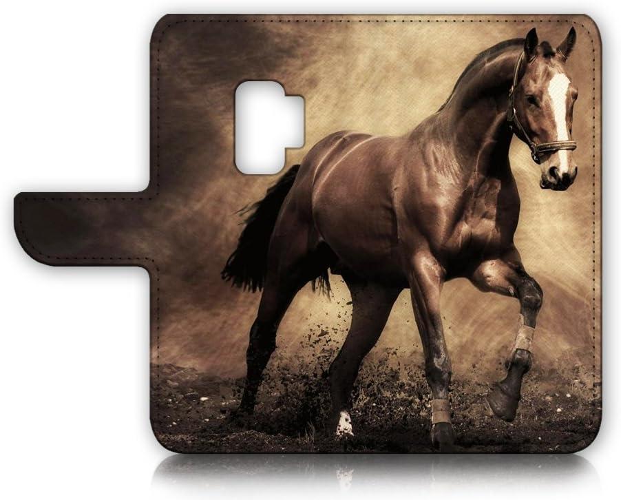 (for Samsung Galaxy S9) Flip Wallet Case Cover & Screen Protector Bundle - A8363 Horse
