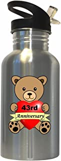 Happy 43rd Anniversary Stainless Steel Water Bottle Straw Top