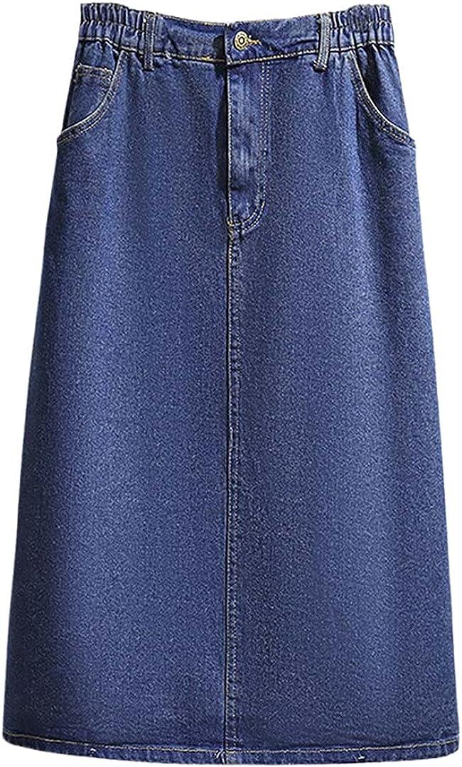 Women All Match Basic Elastic Waist Dress A Line Half Knee Length Denim Skirt