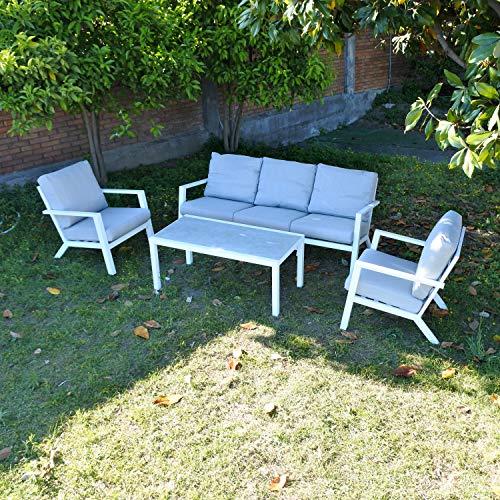 Scaramuzza Modo Set Salotto da Giardino in Alluminio Divano 3 Posti + 2 Poltrone + Tavolino Colore Bianco Cuscini Inclusi cm 195x82 Modello Florida