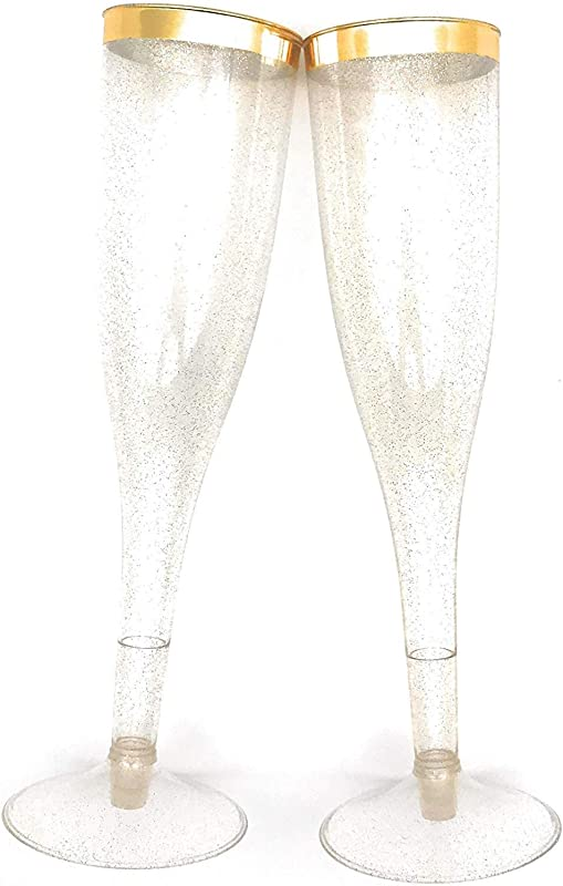 60 Pc Clear Plastic Classicware Glass Like Champagne Wedding Parties Toasting Flutes Gold Rim With Gold Glitter