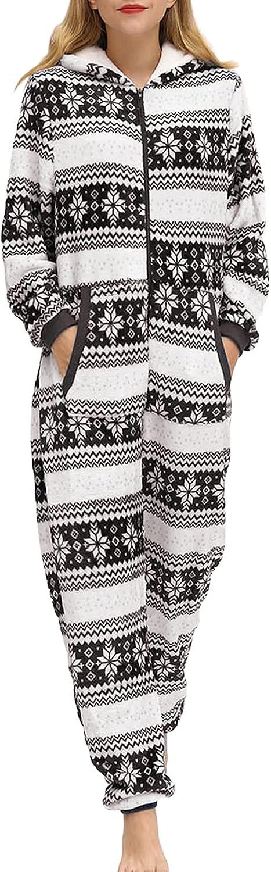 Christmas Women Fleece Jumpsuit Hoodie Surprise price Onesie Fort Worth Mall Snowfl Elk Pajamas