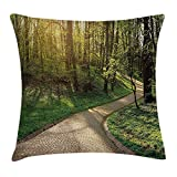 JIMSTRES Outdoor Throw Pillow Cushion Cover, Footpath Green City Park Sun Rays Freshness Hiking Forest Tranquil Botany, Decorative Square Accent Pillow Case, Green Beige Yellow 18x18 inches
