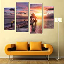 SHENYUAN-Paintings Canvas Wall Art Inkjet Decorative Oil Painting 4 Pcs Beautiful Sunset Wall Painting Study Paintings Porch Murals (25 * 40cm*2 25 * 60cm*2 Inner Frame Painting)