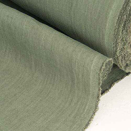 EcoconLINEN Atelier Tela de Lino para Costura por Metro - Tela de Bordado de Lino Suavizado - Lino Natural Lavado a Piedra, verde oliva, 2m (1.4m wide)