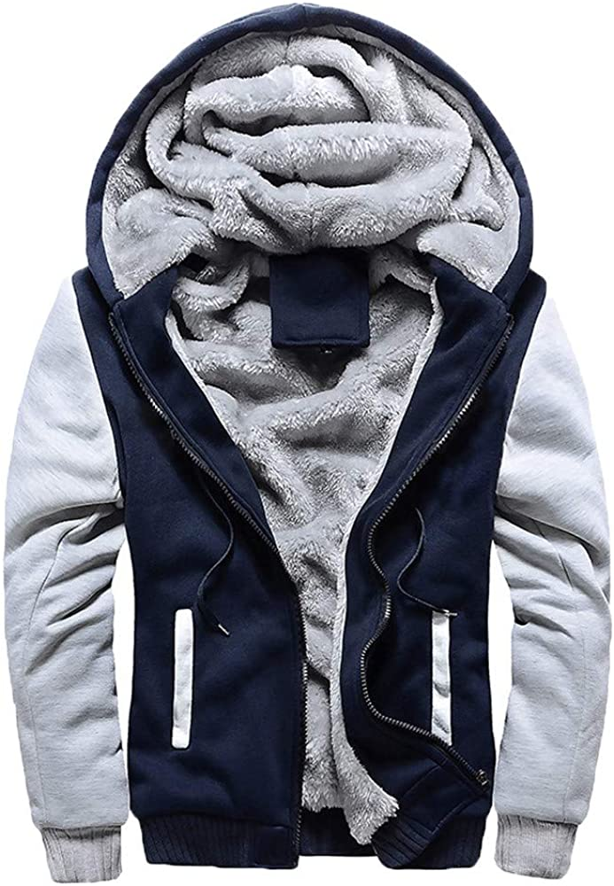 F_Gotal Men's Zip Up Hoodie Heavyweight Winter Sweatshirt Fleece Sherpa Lined Warm Jacket Warm Plus Size Sports Outwear