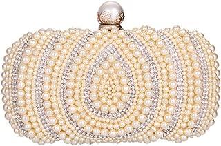 Sturdy Pearl Handbag Bridal Handbag Women's Pearl Drop Pattern Evening Clutch Handbag European & American Style Banquet Handbag Large Capacity (Color : Gold)