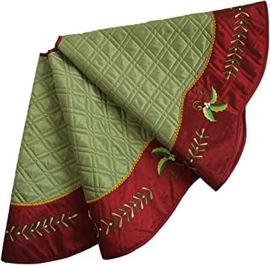 X.Sem Quilted Faux Silk Christmas tree skirt, Holly Leaves Embroidery Border - 50-Inch