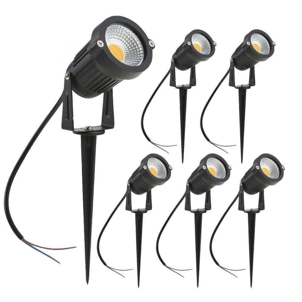 zuckeo luces de jardín LED 5 W COB foco para exteriores 12 V 24 V blanco cálido luz decorativa para jardín Patio vía (6 unidades): Amazon.es: Iluminación