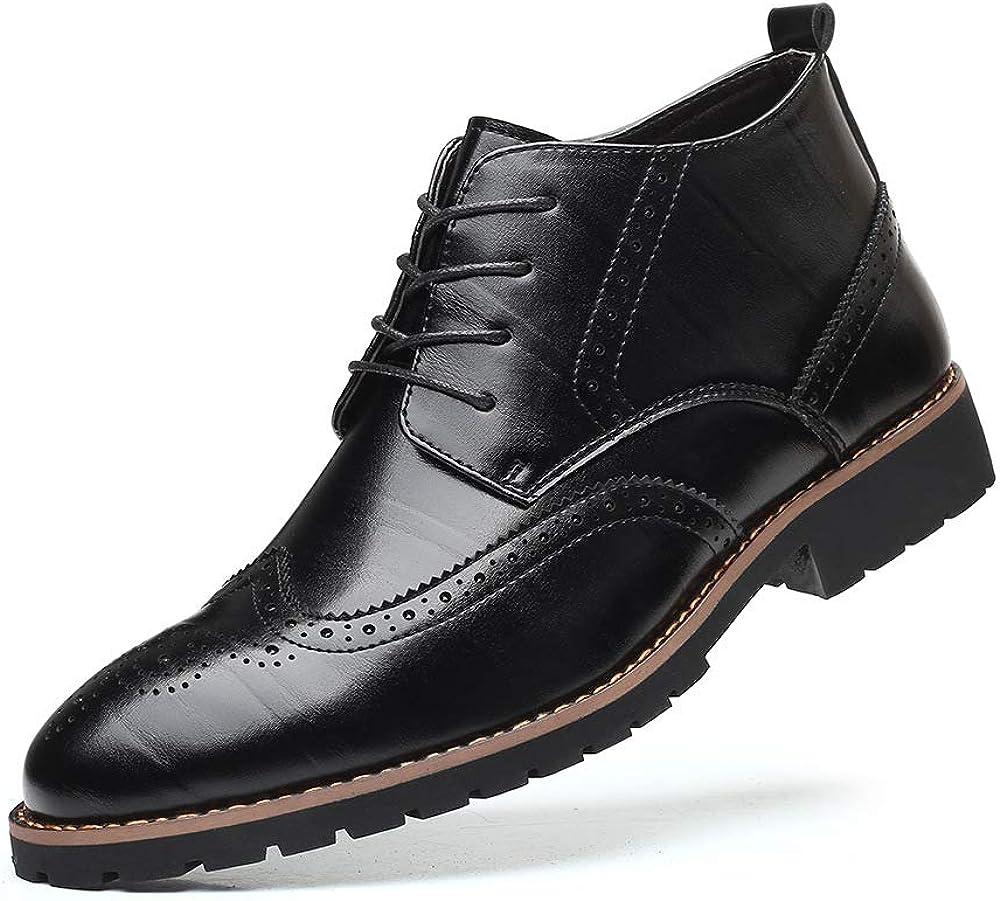 KOYODA Men's Oxford Ankle Boots Arkbird Fashion Dress Boot for Men Cap Toe Lace-Up Side Zipper Fashion Casual Shoes Man