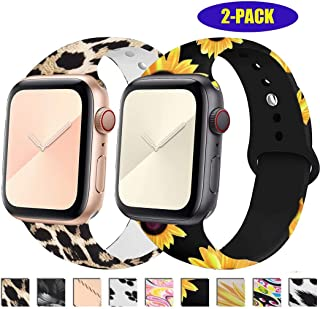 ADWLOF Compatible with Apple Watch Band 38mm 40mm 42mm 44mm Soft Silicone Fadeless Pattern Printed Sport Wristband for iWatch Series 5/4/3/2/1, Nike+, Sport, for Women Men S/M, M/L