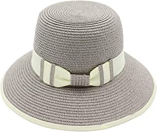 Sunhat Sun Hat Women Men Summer Sun Hat Handmade Straw Hollow Beach Hat Bowknot Ladies Bucket Cap Collapsible Bucket Hat (Color : Gray, Size : 56-58cm)