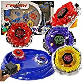 Crush Blades Battling Game Tops Metal Fusion Starter Set (4 Tops + 2 Launchers + 4 Tips + 2 Bolts + 2 Fitting Keys + 1 Grip + 1 Arena)