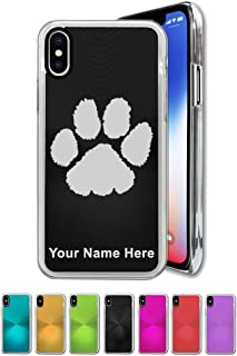 Case Compatible with iPhone X and iPhone Xs, Paw Print, Personalized Engraving Included