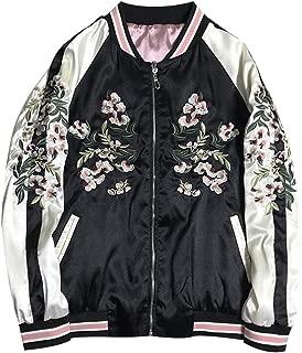 Floral Crane Embroidery Bomber Jacket Women Harajuku Pilot Basic Jacket,A,S
