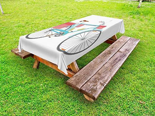 ABAKUHAUS Fahrrad Outdoor-Tischdecke, Classic Tour Fahrradtaschen, dekorative waschbare Picknick-Tischdecke, 145 x 305 cm, Mehrfarbig