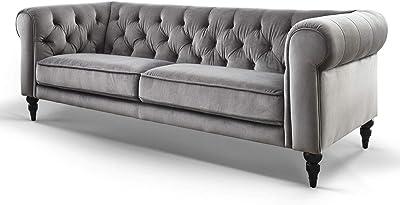 1586d10801860f Barock Design Chesterfield Sofas Couch Samt-Stoff Sessel Möbel Hudson  Knopfheftung Massivholz Füße (Grau