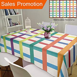 """Unique Design Cotton and Linen Blend Tablecloth Abstract Strips Decor Colourful Long and Narrow Strips6Custom Tablecovers for Rectangle Tables, Small Size 48""""x24"""""""