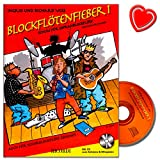Blockflötenfieber Band 1 - neue Schule für Sopranblockflöte für den Beginn ab 7 Jahre von Richard Voss - mit CD und bunter herzförmiger Notenklammer