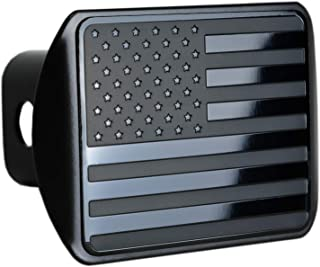 "eVerHITCH USA US American Stainless Steel Flag Metal Emblem on Metal Trailer Hitch Cover (Fits 2"" Receivers, Black)"