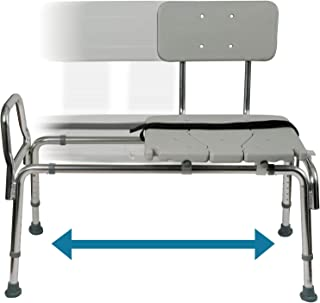 Tub Transfer Bench and Sliding Shower Chair Made of Heavy Duty Non Slip Aluminum Body and Plastic Seat with Adjustable Seat Height and Cut Out Access Holding Weight Capacity up to 400 lbs, Gray