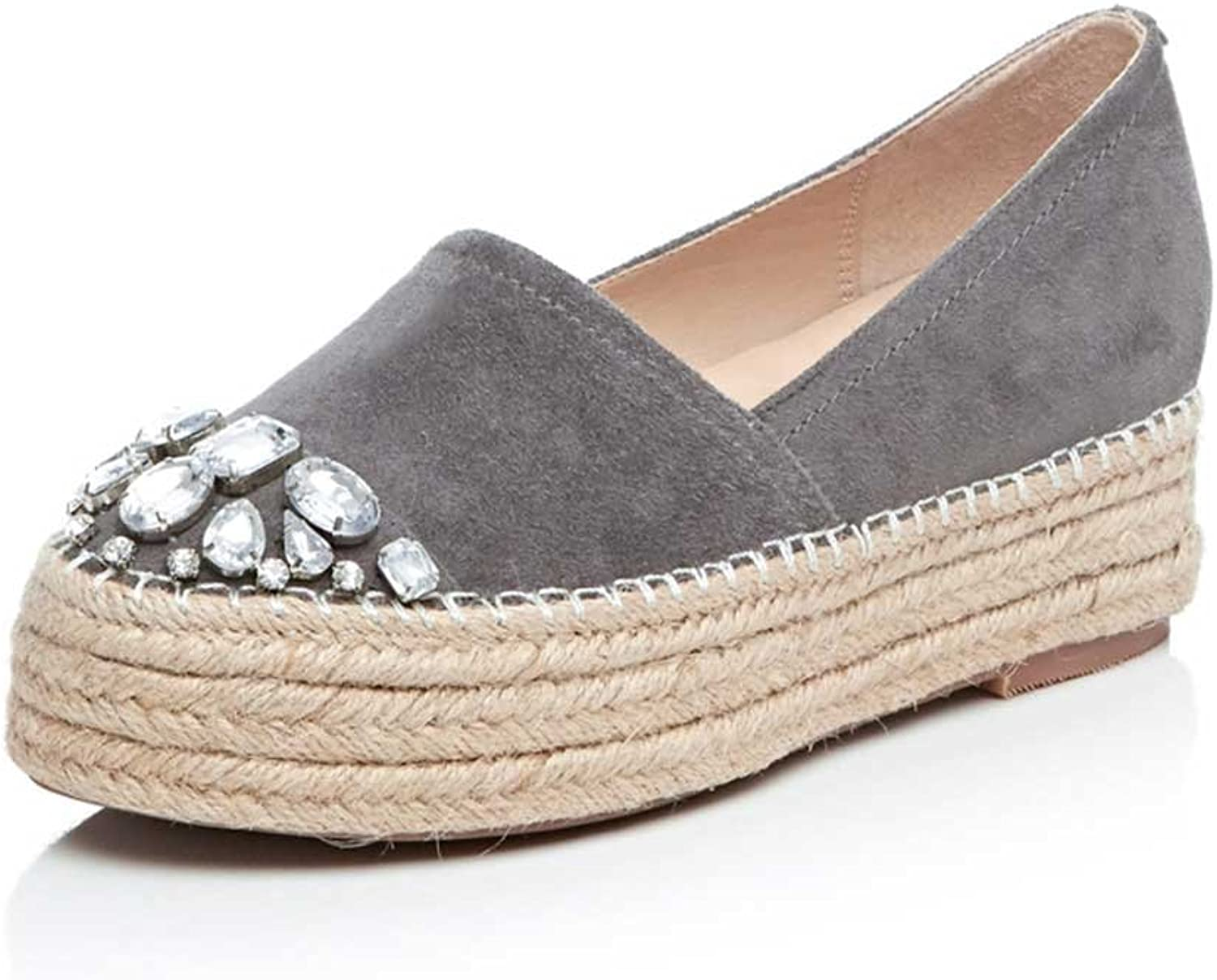 A-BUYBEA Women's Suede Slip-ons Espadrilles Loafers with Rhinestones 4.5-7.5