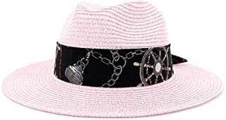 Women Men Summer Straw Wide Brim Beach Panama Sun Fedora Hat Hollow Out Mesh Snake` TuanTuan (Color : Pink, Size : 56-58CM)