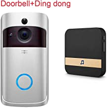 XuBa Smart Wireless WiFi Doorbell IR Video Camera Intercom Record Home Security Bell Silver EU Plug