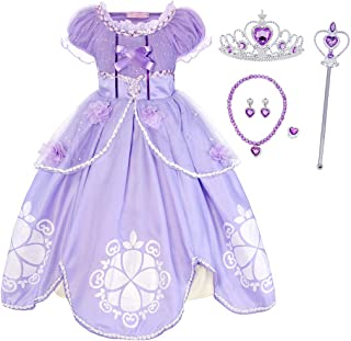 HenzWorld Girls Dresses Clothes Costume Jewelry Accessories Princess Birthday Halloween Cosplay Party Outfits Purple Kids ...