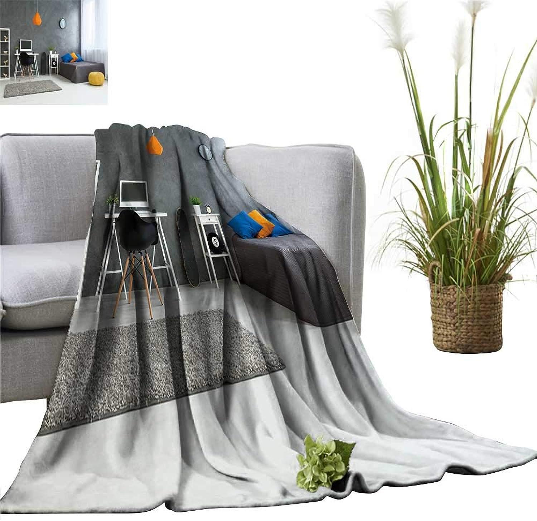 YOYI Comfortable blanketcozy Stylish Designe for Teenage boy Grey Walls Wooden Floor Cozy Hypoallergenic 60 x63