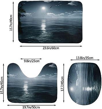 Alfombra De Baño Antideslizante Juego Absorbentes Suaves Sea Moon De 3 Piezas Alfombra De Baño + Funda De Asiento De Inodoro