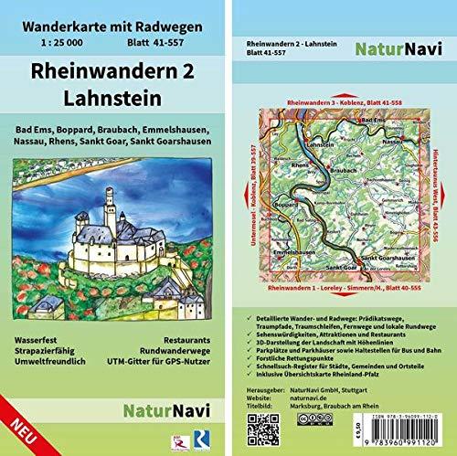 Rheinwandern 2 - Lahnstein: Wanderkarte mit Radwegen, Blatt 41-557, 1 : 25 000, Bad Ems, Boppard, Braubach, Emmelshausen, Nassau, Rhens, Sankt Goar, ... (NaturNavi Wanderkarte mit Radwegen 1:25 000)